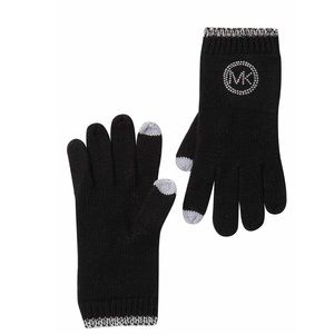MICHAEL KORS studded knit tech gloves NWT OS